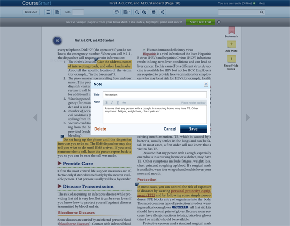 Screen view of new online reader.